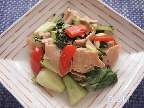 チンゲン菜の炒め物 ガラムマサラとブラックペッパー.JPG