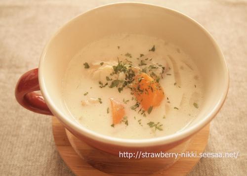 strawberry-nikki.seesaa.net 里芋と鶏肉のクリームスープ.JPG